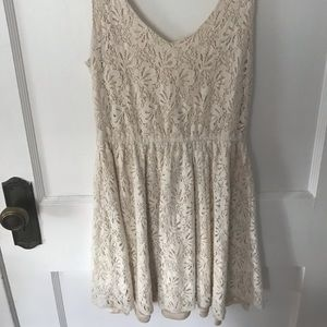 ivory lacy swing dress / Delia's size small